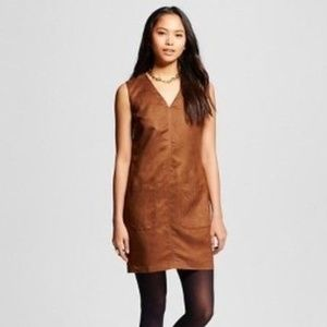 Mossimo Brown Faux Suede Tunic Pocket Shift Dress
